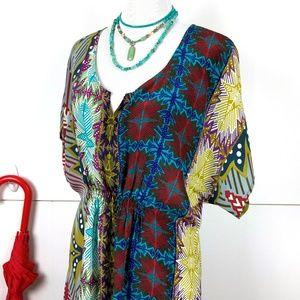 Anthro Fei Floral Silk Tunic Blouse Sz L